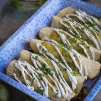 Vegan Enchiladas Verdes with Potato and Black Bean Filling