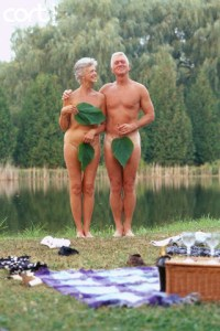 Nude Senior Couple Wearing Fig Leaves
