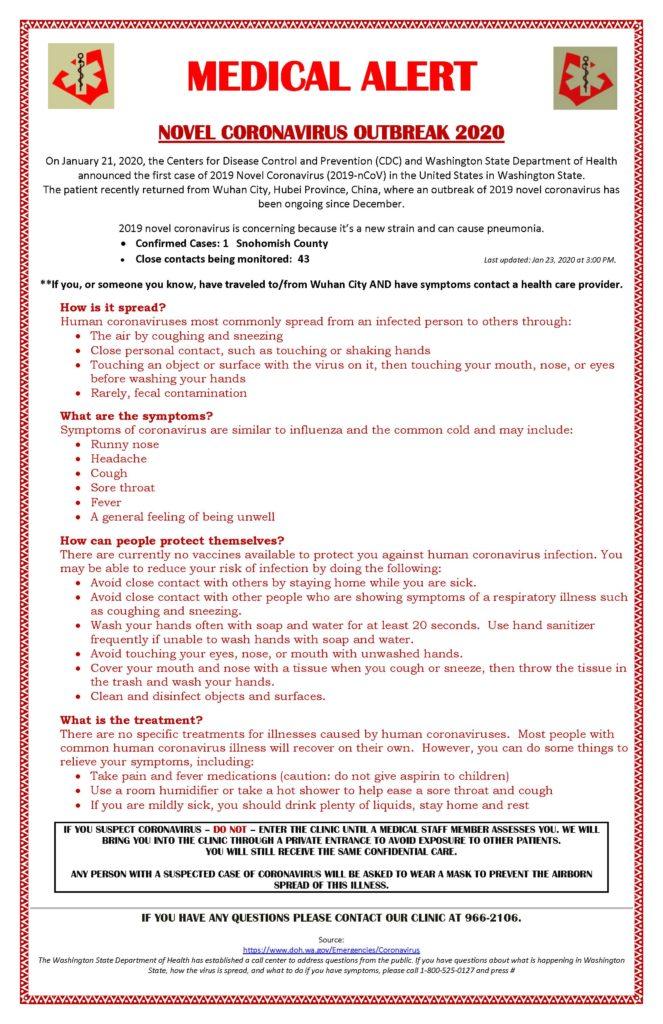 Medical Alert: Novel Coronavirus Outbreak 2020 - Nooksack Indian Tribe