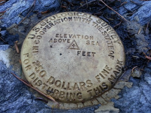 Blake Mountain, the lower bench mark; 5,852 ft above sea level.