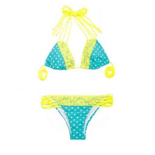 Bikini Triangel Strappy blau gepunktet