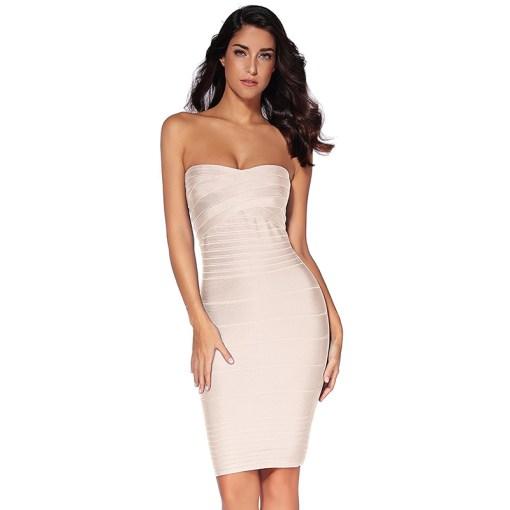 Bandage Bodycon Kleid beige