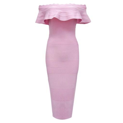 Bandage Bodycon Kleid Midi rosa