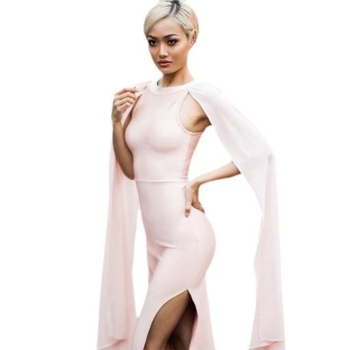Bandage Bodycon Kleid Maxi rosa