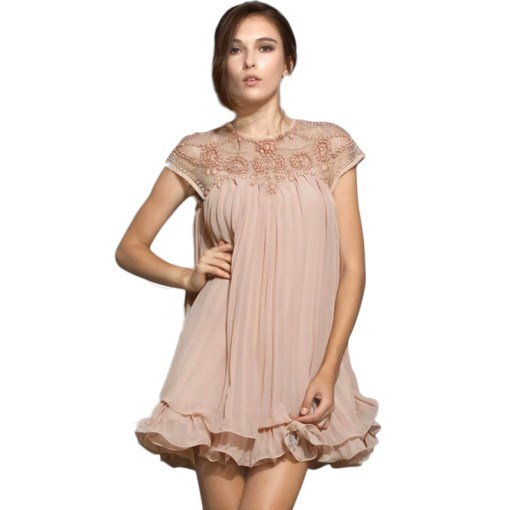 Kleid Plissee nude