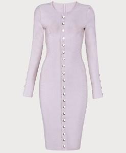 Produktbild Langärmliges Kleid beige von vorne