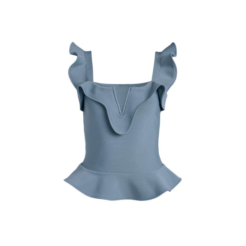 Produktbild Top in blau für Damen von vorne.