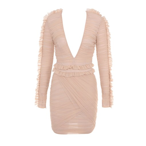 Kleid Mini Rüschen nude