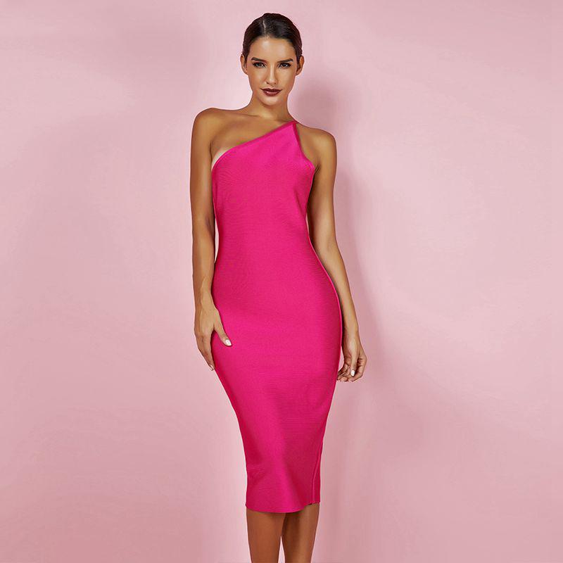 Modelbild One-Shoulder-Kleid pink frontal