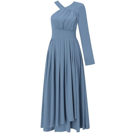Kleid One-Shoulder blau