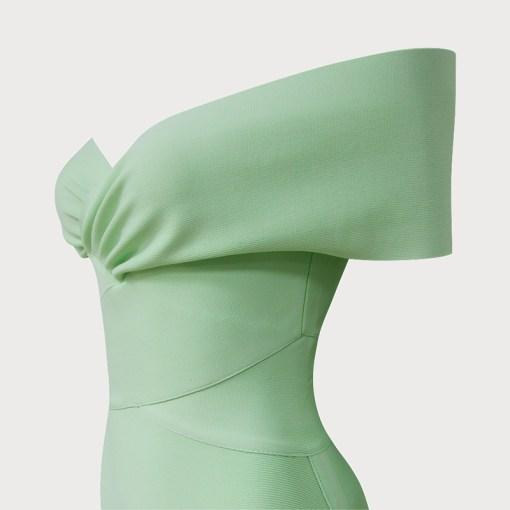 Produktbild Off-Shoulder Kleid mint Detailaufnahme