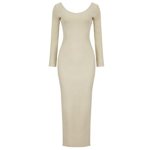 Bandage Kleid beige Langarm