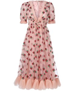 Produktbild rosa Kleid Erdbeeren- Frontaufnahme