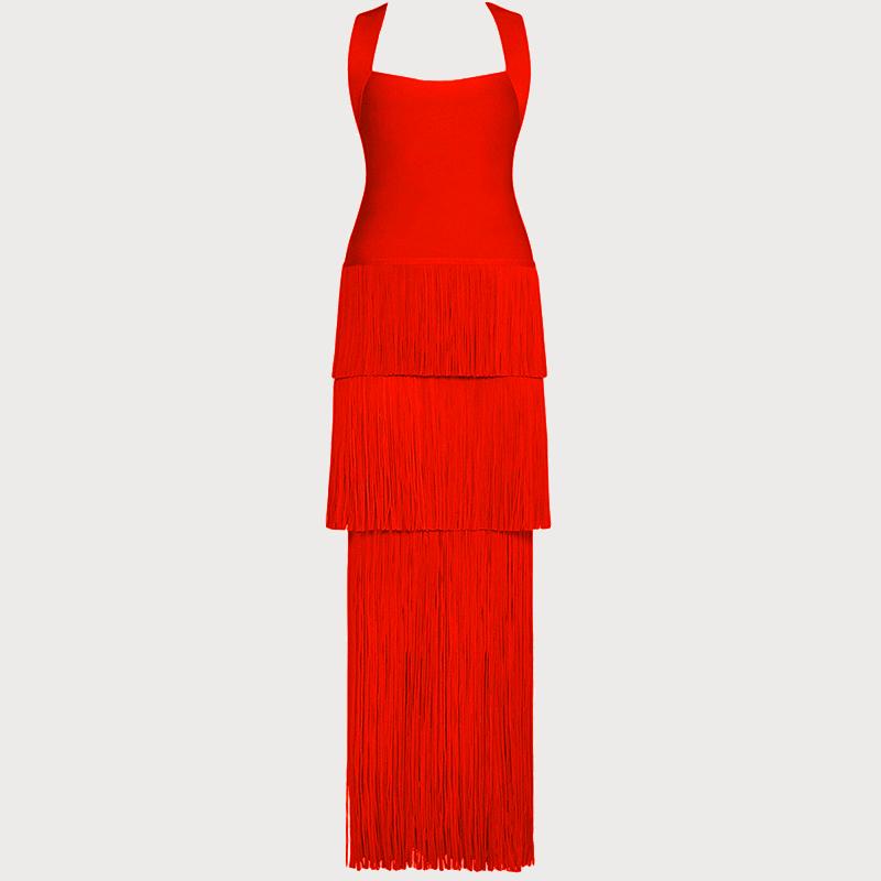 Produktfoto langes rotes Kleid von vorne
