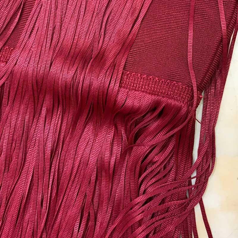 Produktbild Fransenkleid rot Detailaufnahme Material