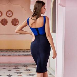 Bild Model trägt Kleid blau Colorblock- Ansicht von hinten
