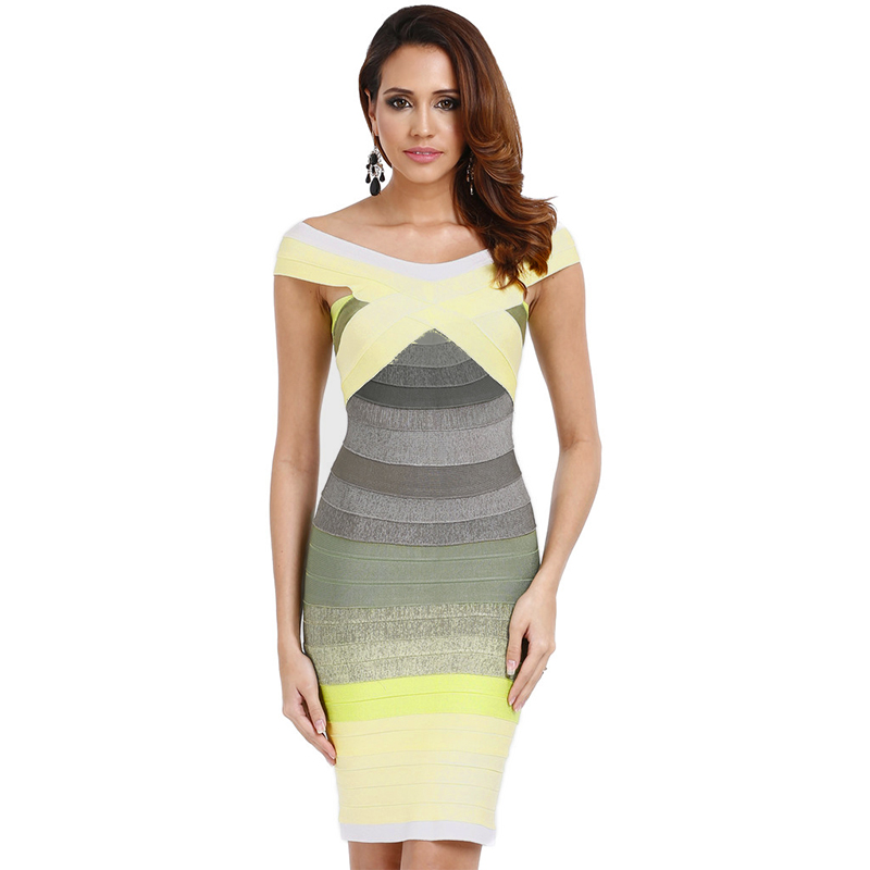 Model trägt Bandage Kleid gelb ombré