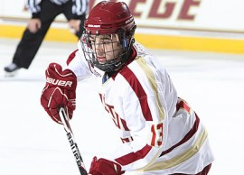 Johnny Gaudreau and the No. 2 Boston College Eagles will face-off against No. 4 New Hampshire on Friday and Saturday! (Photo Credit: Hockey East)