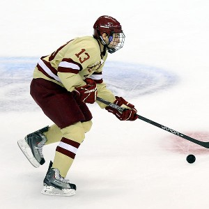 Johnny Gaudreau recorded six points against the Catamounts, which helped the Eagles conclude the regular season with a win! (Photo Credit: ESPN)