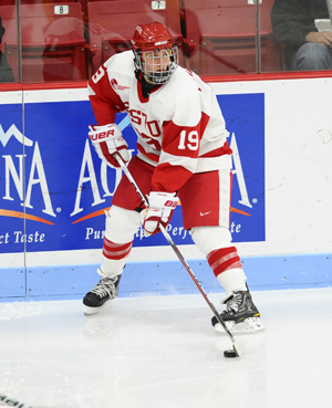 BU's Jenelle Kohanchuk registered two of her team's five tallies as the Terriers defeated the Huskies in the Hockey East championship! (Photo Credit: BU.edu/Steve McLaughlin)