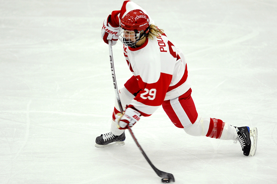 BU's Marie-Philip Poulin leads the Terriers into the NCAA quarterfinals with 49 points (16 goals, 33 assists). (Photo Credit: BU Today/Steve McLaughlin)