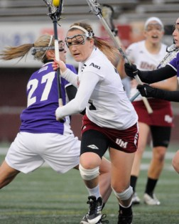 Katie Ferris eclipsed the 200-point barrier with three goals and an assist on Wednesday against Vermont! (Photo Credit: Lacrosse Magazine)