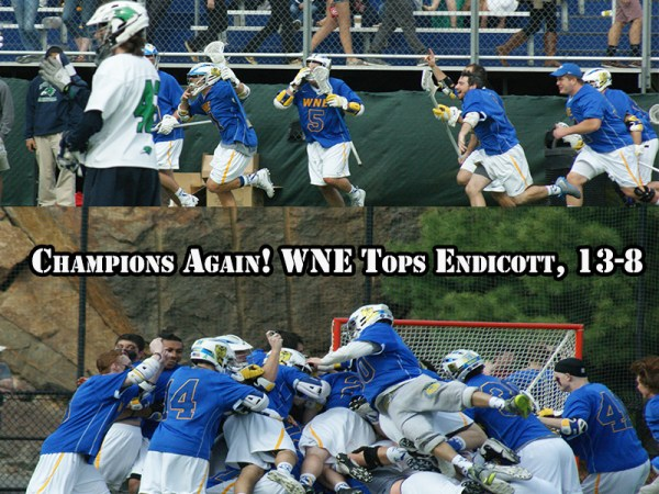 Western New England captured its second straight CCC Crown with a 13-8 victory over Endicott this afternoon. (Photo Credit: Matt Noonan for NoontimeSports.com)