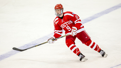 Boston University's Jack Eichel became the first skaters from this past weekend's NHL Drat to ink his name on a three-year, entry level contract with Buffalo on Wednesday. (Photo Courtesy NESN.com)
