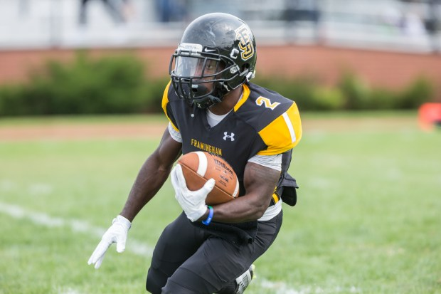 Framingham State sophomore tailback Quron Wright has been one of the many first or second-year players that have stepped up for the Rams this season. (PHOTO CREDIT: Frank Poulin Photography)
