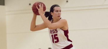 Brittany Stone guided the Regis College women's basketball team to a trio of wins last week. (PHOTO CREDIT: Regis College Athletics)