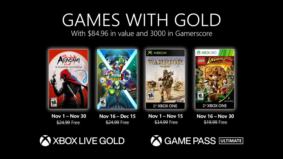 Xbox Games With Gold novembre 2020