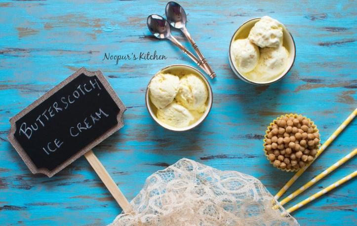 Homemade Butterscotch Ice Cream eggless & no churn