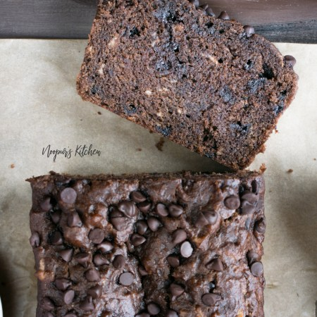 chocolate banana bread cake eggless and whole wheat