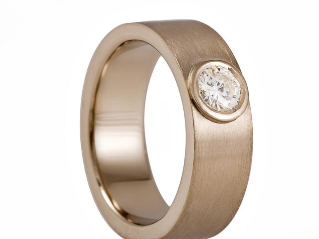 18 krt Witgouden ring met 0.30 ct TW VVS briljant in een ronde zetkast