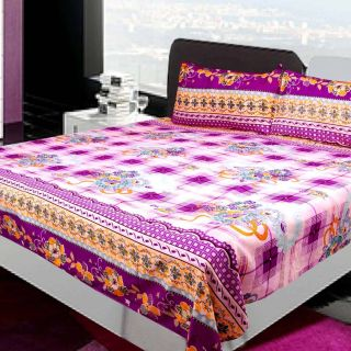 Bedsheet Luxury Kritarth Handicrafts Purple Color Stripes Design with Flower Queen Size Double Bed Bedsheet with Two Pillow Cover