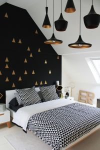 Black Accent Wall Lovely Bedroom White Gold and Black Interior Love the Wall and