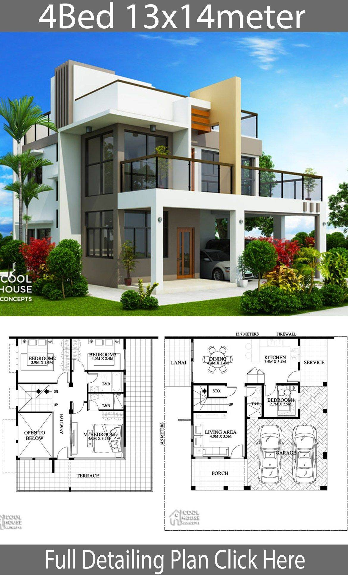 Contemporary 4 Bedroom House Plans Beautiful Home Design Plan 13x14m with 4 Bedrooms