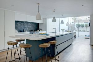 Kitchen islands with Seating Luxury A Bold Blue & White Linear Basement Kitchen