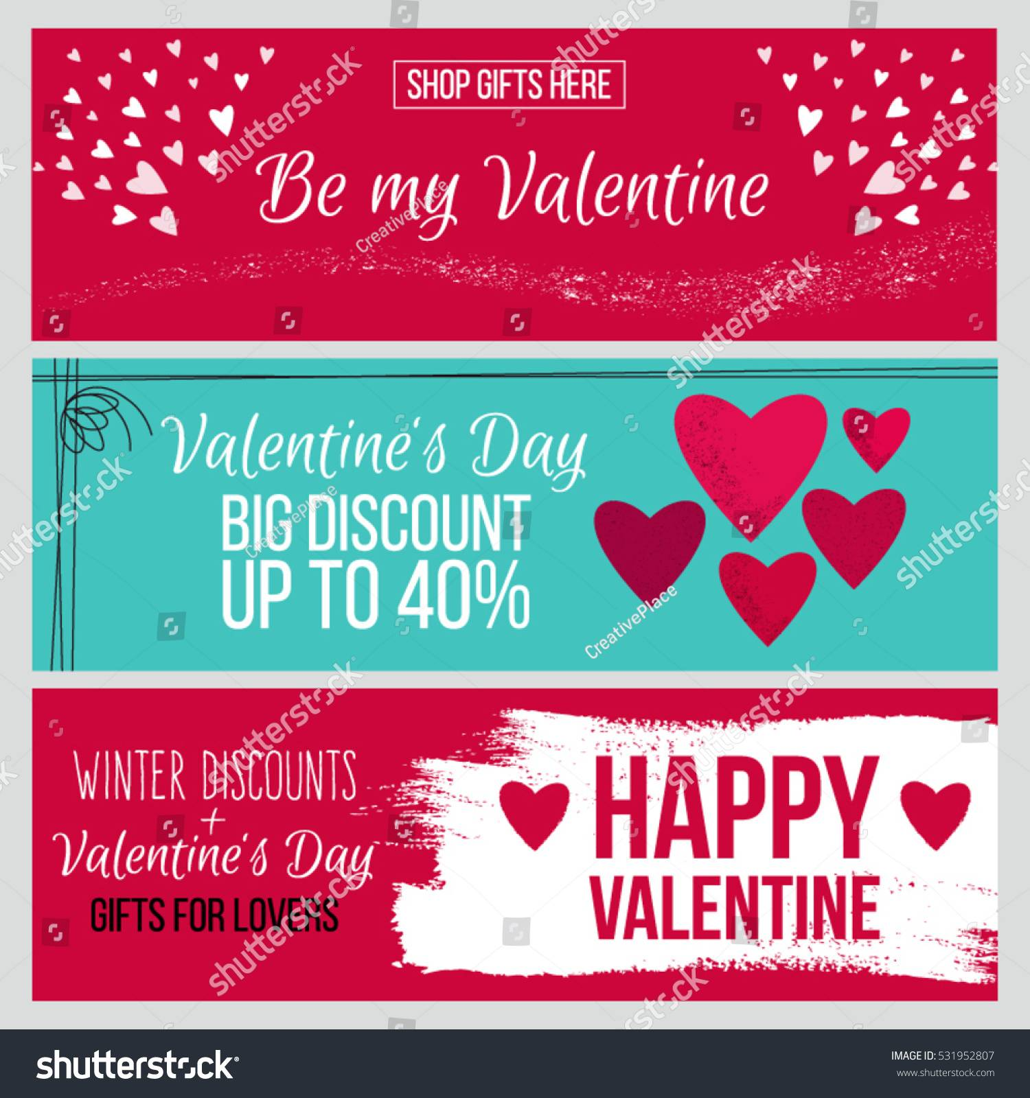 stock vector set od modern flat valentine s day greetings cards banners vouchers and sale promotion flyers cards
