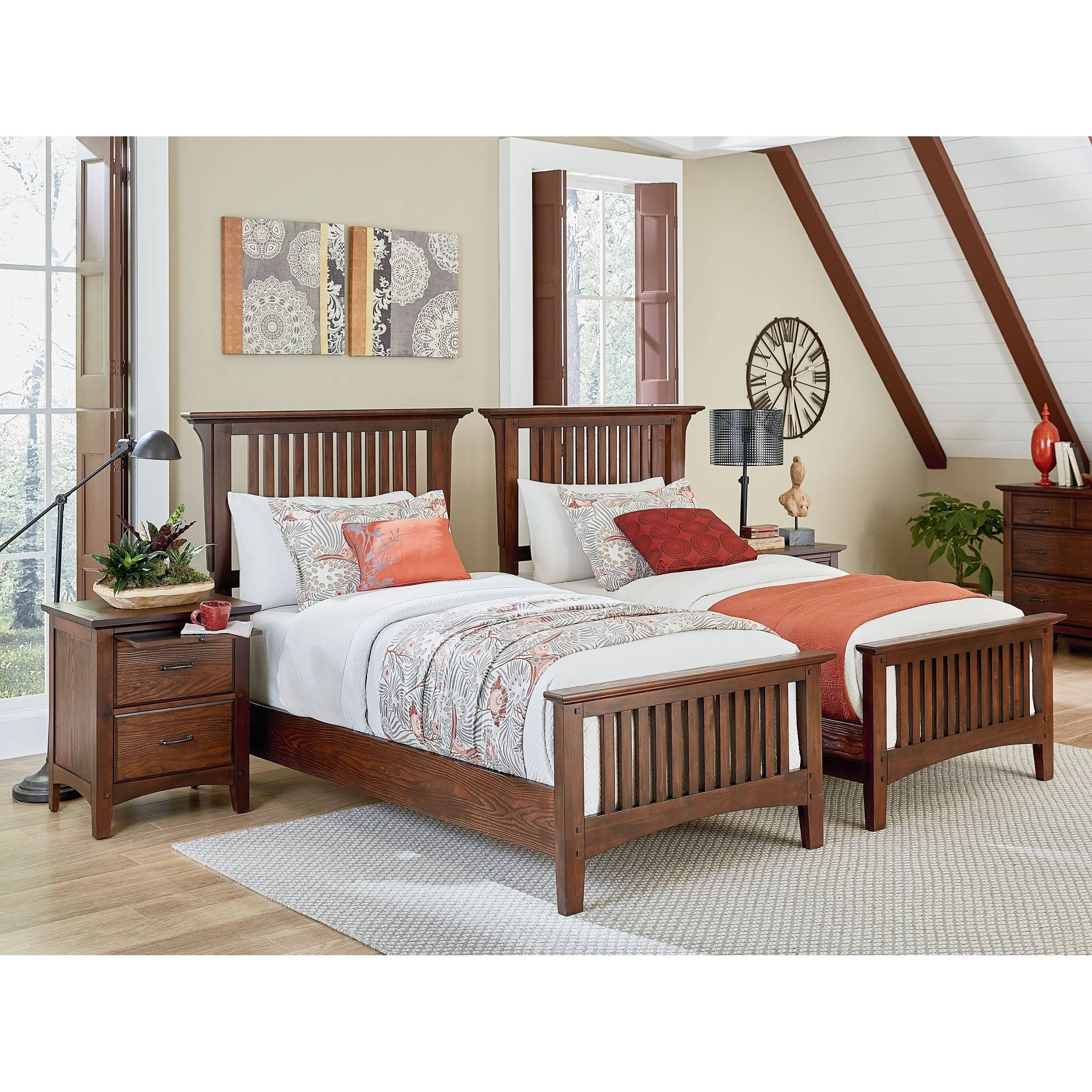 INSPIRED by Bassett Modern Mission Double Twin Bedroom Set with 2 Nightstands e739be70 31b8 43f9 b958 ec fab28