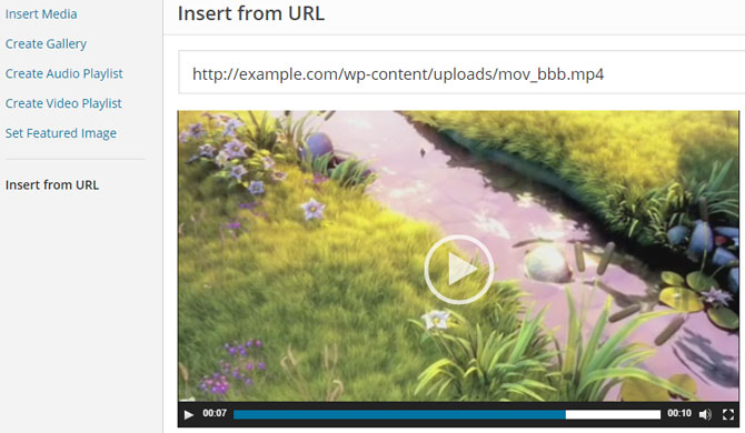 screenshot showing how to embed a video from URL in wordpress