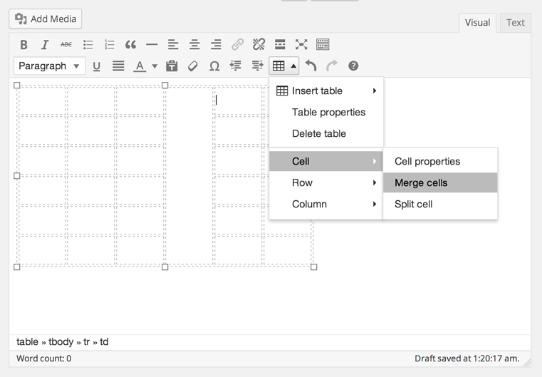 screenshot showing how to add a table to a post/page using the TinyMCE Table Button plugin
