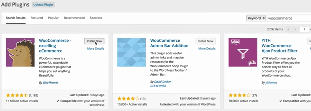 screenshot showing how to install WooCommerce