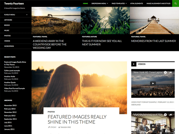 screenshot of free Twenty Fourteen WordPress theme