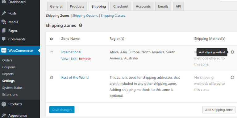screenshot showing how you can add a shipping method to a shipping zone in WooCommerce