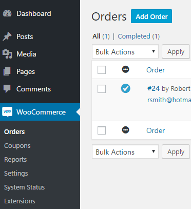 screenshot showing how to create a new order from the orders menu in WooCommerce