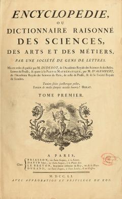 Encyclopedie de d'Alembert et Diderot