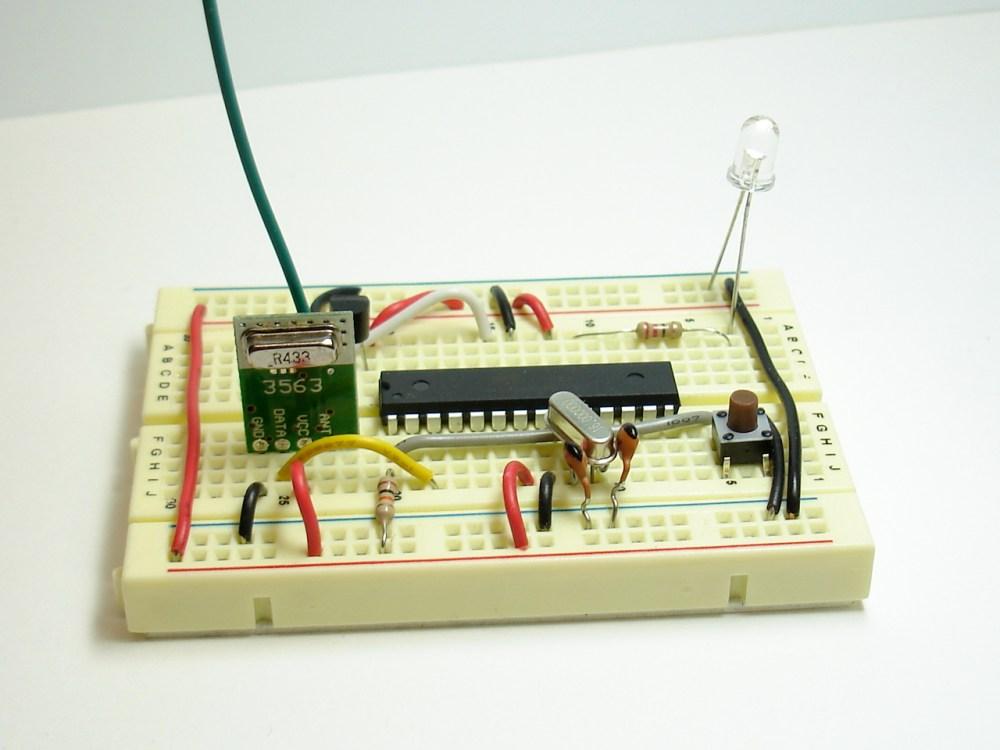 medium resolution of rf transmitter and temperature sensor on breadboard arduino