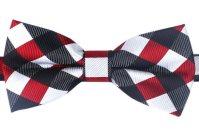 White Black Maroon Checkered Bow Tie