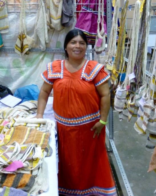 woman wearing a traditional Panamanian dress - Panama City